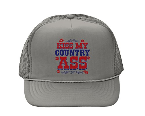 Tcombo Kiss My Country Ass Solid Trucker Cap (Gray) -