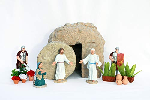 Easter Creche Resurrection Scene/Display - 7 Piece Set + Garden Accessories