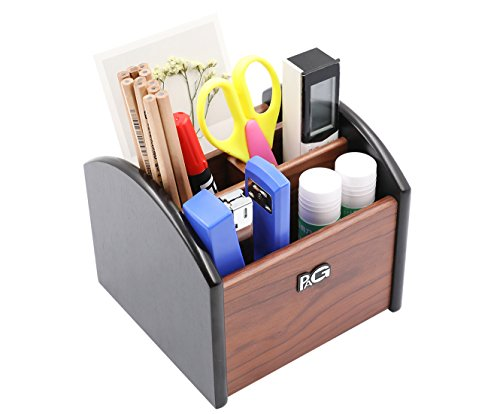 PAG Office Supplies Wood Desk Organizer Revolving Pencil Holder Accessories Remote Control Caddy, 4 Compartments, Brown