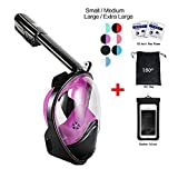 Snorkel Mask 180° view for Adults and Youth. Full Face Free Breathing Design.[Free Bonuses] Cell Phone Universal Waterproof Case (Dry Bag) and Anti-Fog wipes (Black/Purple, Small/Medium)