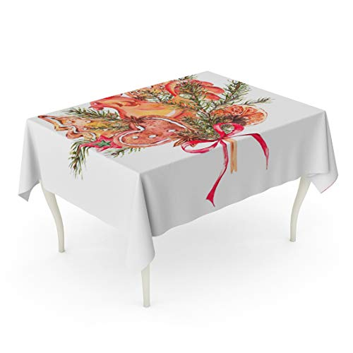 Tarolo Rectangle Tablecloth 60 x 102 Inch Watercolor Christmas Bouquet of Gingerbread Cookies Fir Branches Rooster Lollipop on Stick New Year Holiday Greeting Festive Table Cloth