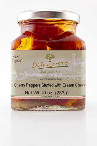 Di Augusto Red Cherry Pepper with Cream Cheese 10 oz ( 283 g ) Glass Jar (Pack of 1)
