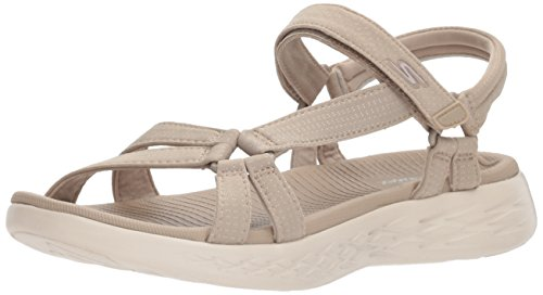 Skechers Performance Women's On-The-Go 600-Brilliancy Wide Sport Sandal, Natural, 8 W US