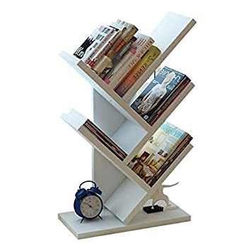 Unuber Bookshelf ShelfFloor Bookcase Display Storage Organizer Living Room Combination Shelving Tree Shaped