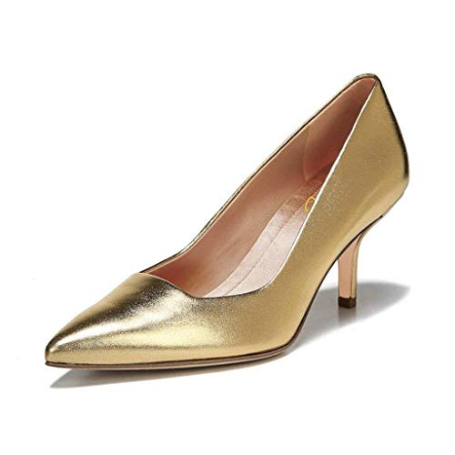 Gold Pointed On Mid Dress Xyd Heel Slip Daily Women Leather Pumps Shoes Toe Walking Office Fw6qxpnYqB