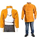 Leather Welding Apron, Welding Anti-Scalding Flameworkwear, Brown,A,XL