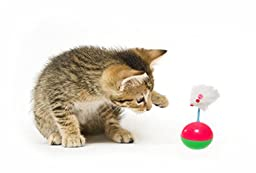 Pet Paws Interactive Cat Toy Teaser with Feather Mouse - Green/ Yellow