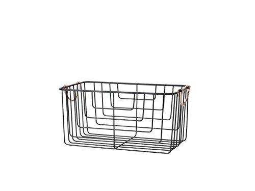 Pfaltzgraff Basics 5227646 Merch Carbon Steel Large Wire Organizer Basket with Copper Handles, 15-Inch, Antique Black