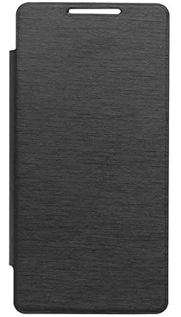 Tidel Black Durable Flip Cover Case for Micromax Canvas Silver 5 Q450 Mobile Accessories