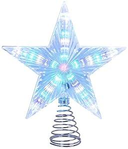 The Christmas Workshop–Luce a batteria multicolore LED lampeggiante stella per albero di Natale, bianco