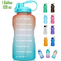 Giotto Large Gallon Motivational Water Bottle with Time Marker & Straw