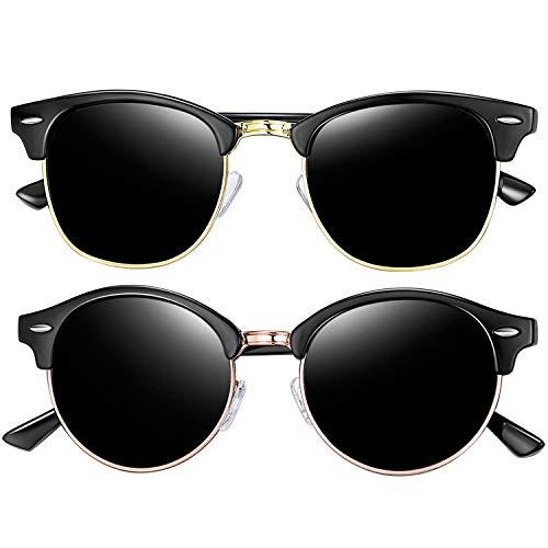 Joopin Semi Rimless Polarized Sunglasses for Men, Retro Brand 2 Pack Womens Sunglasses (Brilliant Black+Shiny -
