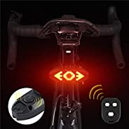 Bike Turn Signal, USB Rechargeable Bike Tail Light, Remote Control Rear Bike Light Waterproof Back Bike Light