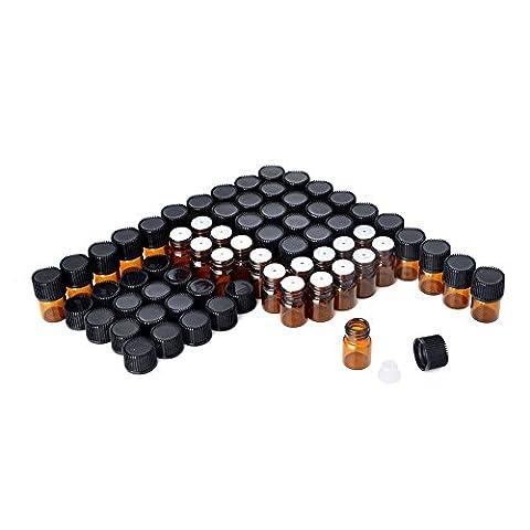 Enslz 100 Pcs Essential Oil Glass Bottles Mini Tiny Refillable Empty Aromatherapy Perfume Liquid Amber Glass Bottles - Butterfly Perfume Stopper Bottle