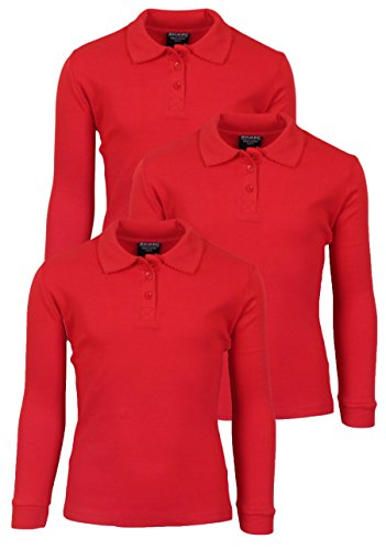 'Beverly Hills Polo Club 3 Pack of Girls\' Long Sleeve Interlock Uniform Polo Shirts, Size 10, Red'