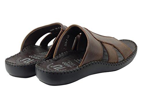 Da spiaggia slip pelle sandali pantofole estate da punta in Strap su aperta marrone uomo vera Croce SqSF4vr