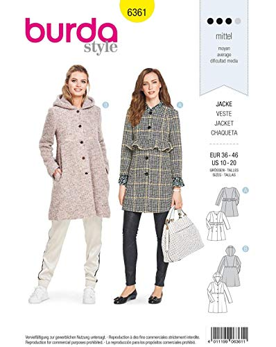 Burda Style Sewing Pattern B6361 - Misses' Jackets, A(10-12-14-16-18-20)