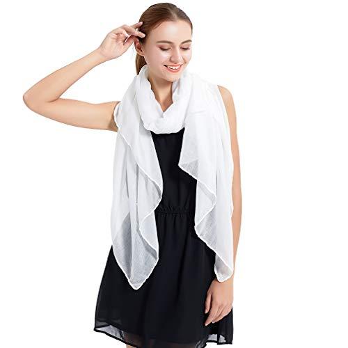 (LMVERNA Muslim Hijab For Women Scarf Solid Color Lightweight Cotton Fashion Long Shawl Wrap(White))