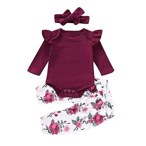 3 Piece Newborn Infant Kid Baby Girl Floral
