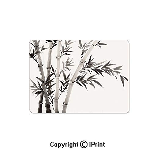 Gaming Mouse Pads, Traditional Bamboo Leaves Meaning Wisdom Growth Renewal Unleash Your Power Artprint Non Slip Rubber Mousepad,7.1x8.7 inch,Grey White ()