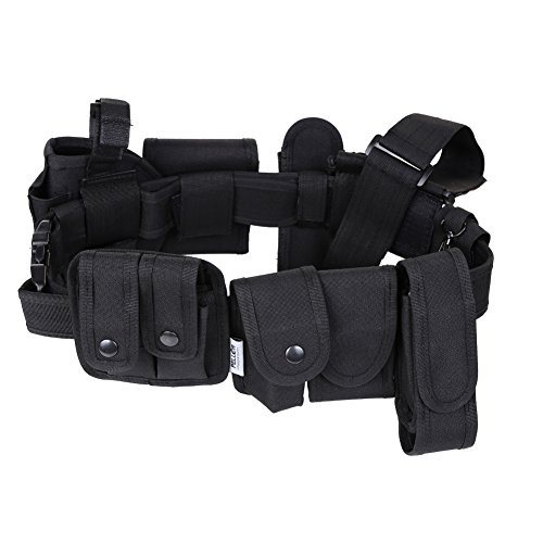 Pellor Outdoor Multifunction Tactical Belt Police Guard Utility Kit Nylon Duty Belt System Black (Black) (Flashlight Equipment Police)