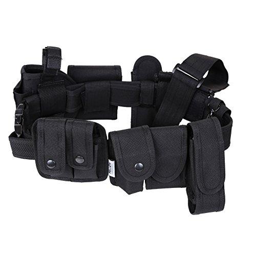 Pellor Outdoor Multifunction Tactical Belt Police Guard Utility Kit Nylon Duty Belt System Black (Black) - Duty Kit