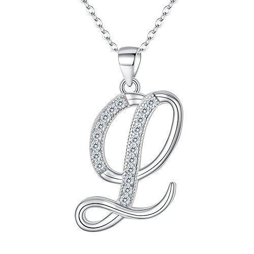 - EVER FAITH 925 Sterling Silver CZ Cursive Initial Alphabet Letter L Adjustable Pendant Necklace Clear