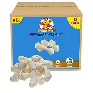 Brazilian Pet Rawhide Bones 5-6 Inches, Premium Quality Dog Bones, 100% Natural, Beef Hides Chews (12 Pack)