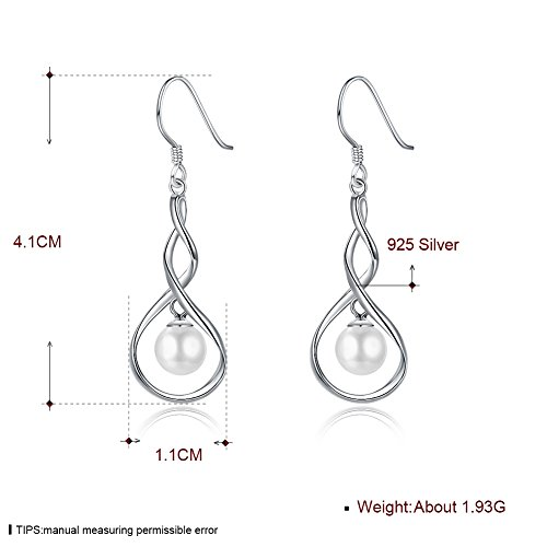 Dainty Pearl Infinity 925 Sterling Silver Dangle Earrings for Women Girls Wedding Fashion Bridesmaid Dangling Hypoallergenic (silver) by IminiJewelry (Image #1)