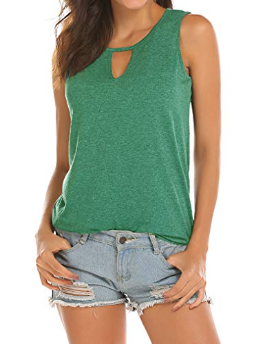 Poetsky Womens Backless Tank Tops Sleeveless Keyhole Blouse Sexy Summer Tshirt (XXL, Grass Green)