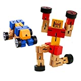 Fonxian Kids Toys 2 Pieces Wooden Robots Cool Wood Transformers Fun Creative Educational Toys Girls Boys New Version Brain Teaser Puzzle (Random Colors)