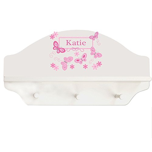 Baby Butterfly Shelf - Personalized White Wall Rack and Shelf with Pink Butterflies Design