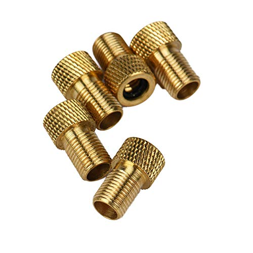 Hunzed Brass Presta Valve Adapter - Convert Presta to Schrader - Inflate Tire Using Standard Pump or Air Compressor 5pcs (Gold)