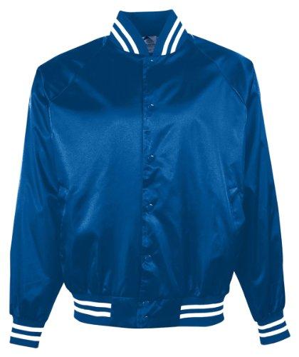 Augusta Sportswear Boys' Satin Bbll JKT/Striped TRM L Royal/White