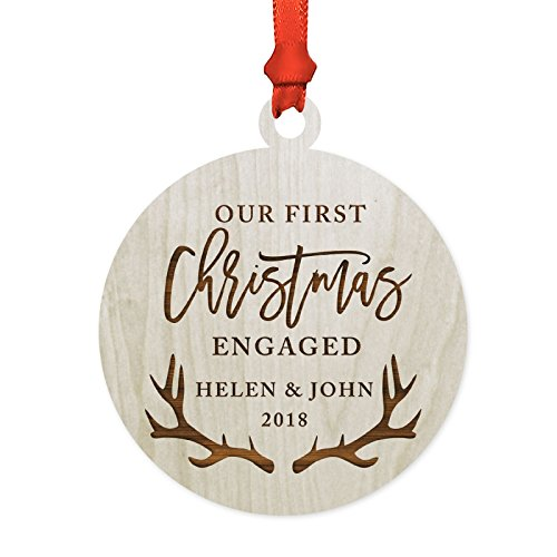 ized Wedding Engagement Laser Engraved Wood Christmas Ornament, Our First Christmas Engaged 2019, Deer Antlers, 1-Pack, Includes Ribbon and Gift Bag, Custom Name ()