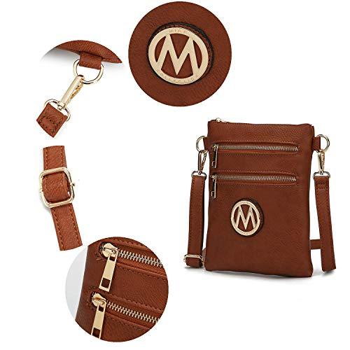 MKF Crossbody Bag for Women – Adjustable Strap – PU Leather Designer Crossover Lady Handbag Small Messenger Purse