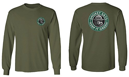 - Vintage Smokey The Bear says Keep It Green Kush Men's Long Sleeve t Shirt (Olive, X-Large)