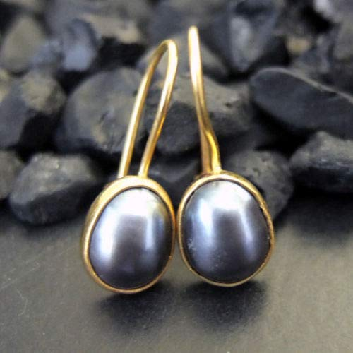 Ancient Design Jewelry Handmade Designer Black Pearl Dangle Earring 22K Gold Over 925K Sterling Silver ()