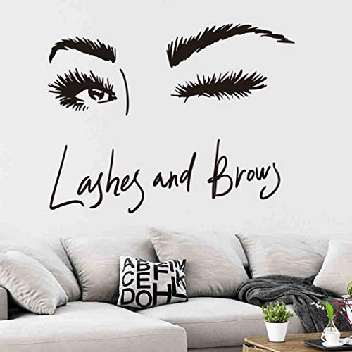 Beyonds Long Eyelash Beauty Wall Art Decal Home Décor for Livingroom,Love Story Never Ends Quote Wall Sticker Handwriting Art Letters Love Bedroom