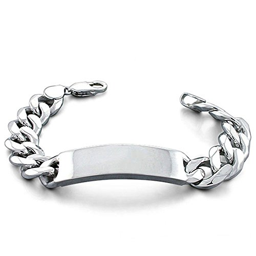 Wide Mens 11mm Sterling Silver Curb Cuban Link ID Bar Bracelet 8 - 9in 300 Gauge (9)
