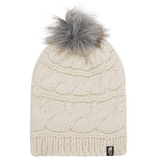 The North Face Triple Cable Fur Pom - Vintage White & Mid Grey - OS