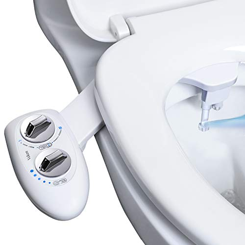 Veken Non-Electric Bidet Self-Cleaning Dual Nozzle (Frontal /Feminine Wash), Fresh Water Spray Bidet for Toilet with Adjustable Water Pressure Switch