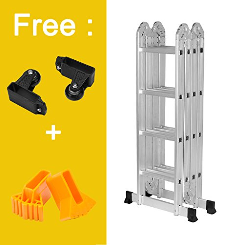 Finether 15.4ft Heavy Duty Multi Purpose Aluminum Folding Extension Ladder with Safety Locking Hinges 330lb Capacity (New Non-slip Mat and Wheels for Free) by Finether (Image #1)
