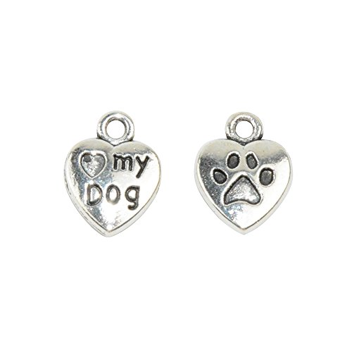 Y&Y Star 50pcs Love Heart 13x10mm DIY Mini My Dog with Dog Puppy Paw PrintCharms Pendant for Crafting, Jewelry Making Accessory (love heart my dog Silver)