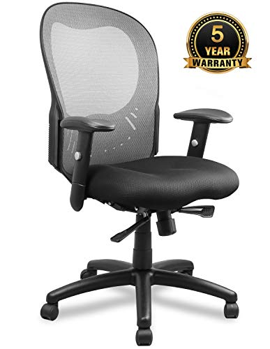 Becozier Ergonomic Office Chair, Mesh Desk Task Chair with Lumbar Support and Super-Thick Mesh Seat-Cushion, Adjustable Head & 3D Flip-up Arms, Swivel Task Chair for Office Conference Room