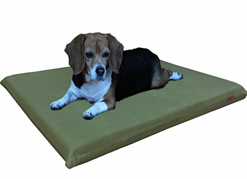 Dogbed4less 2 Pack Gel Cooling Memory Foam Dog Bed for Small to Medium Pet with Waterproof Internal Cover, Canvas Olive Green 34X27X3 Inches
