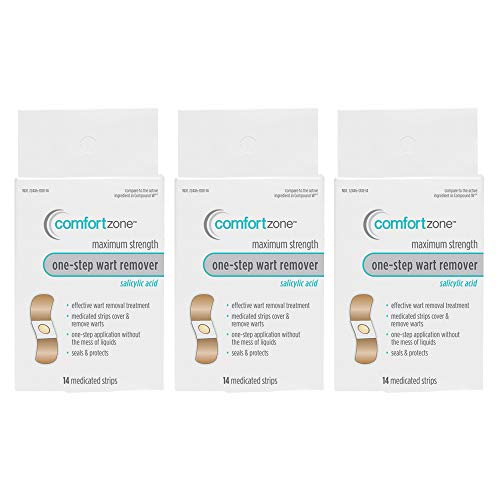 Comfort Zone One Step Wart Remover Strips Tan Bandages, 14 Count (Pack of 3)