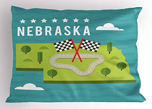 Ambesonne Nebraska Pillow Sham, Map of Nebraska State Flags Road and Green Trees American Landmark, Decorative Standard Size Printed Pillowcase, 26 X 20 Inches, Turquoise and ()