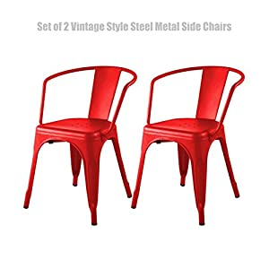 Vintage Style Industrial Steel Metal Side Chairs Comfortable Backrest Design Durable Powder-coated finish Mar Scratch Resistant Stool - Set of 2 Red #1438