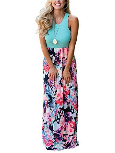 TECREW Women's Sleeveless Tank Floral Print Empire Waist Summer Maxi Dress with Pockets Empire Waist Tank Dress